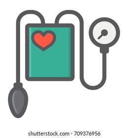 Tonometer filled outline icon, medicine and healthcare, Blood Pressure sign vector graphics, a colorful line pattern on a white background, eps 10.