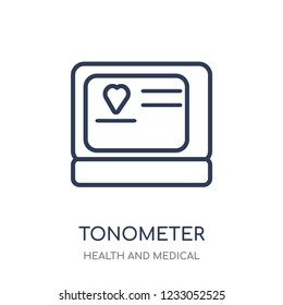 Tonometer icon. Tonometer linear symbol design from Health and Medical collection. Simple outline element vector illustration on white background