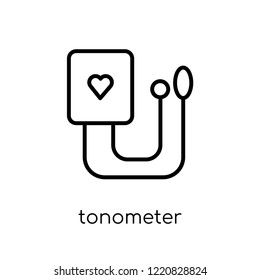 Tonometer icon. Trendy modern flat linear vector Tonometer icon on white background from thin line Health and Medical collection, editable outline stroke vector illustration