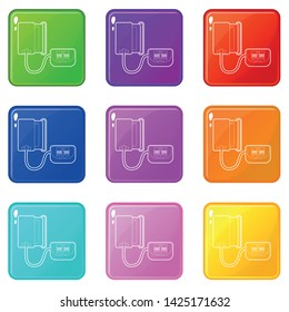 Tonometer icons set 9 color collection isolated on white for any design