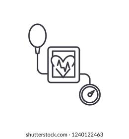 Tonometer line icon concept. Tonometer vector linear illustration, symbol, sign