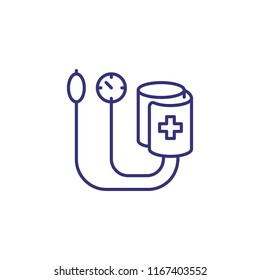 Tonometer line icon. Pulsimeter, medical exam, measuring pressure. Medicine concept. Vector illustration can be used for topics like diagnosis, medical technology, cardiology
