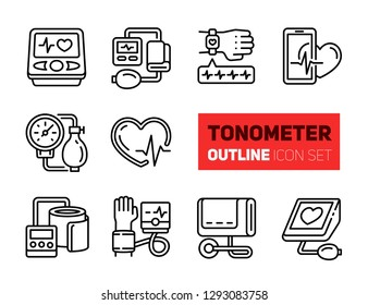 Tonometer outline icons set. Vector collection, modern stroke pictogram, isolated on white background. Concept bold outline symbols.