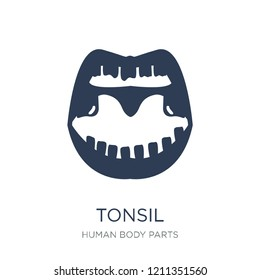 Tonsil icon. Trendy flat vector Tonsil icon on white background from Human Body Parts collection, vector illustration can be use for web and mobile, eps10