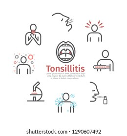 Tonsillitis banner. Symptoms, Treatment. Line icons set. Vector signs for web graphics.