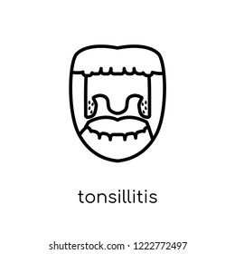 Tonsillitis icon. Trendy modern flat linear vector Tonsillitis icon on white background from thin line Diseases collection, editable outline stroke vector illustration