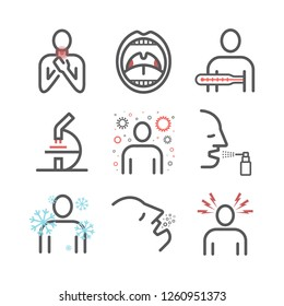 Tonsillitis. Symptoms, Treatment. Line icons set. Vector signs for web graphics.