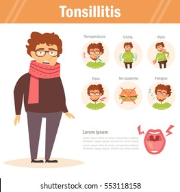 Tonsillitis. Vector. Cartoon. Isolated. Flat. Illustration for websites, brochures, magazines. Medicine