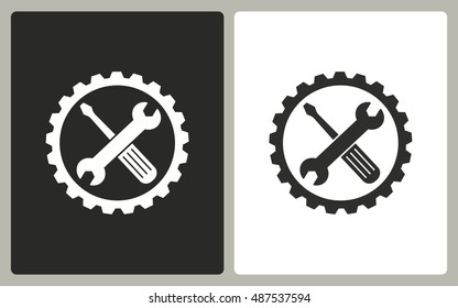 Tool - black and white icons. Vector illustration.