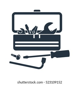 tool box, kit, isolated icon on white background, auto service, car repair