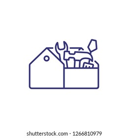 Tool box line icon. Toolbox, toolkit, instrument. Construction concept. Can be used for topics like home maintenance, fixing, repair, renovation