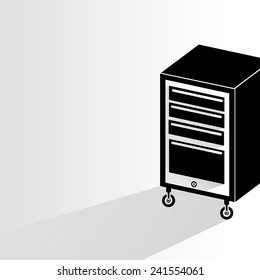 tool cabinet on white background, flat and shadow theme