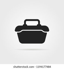 tool or food container black icon. flat simple style trend modern graphic minimal design. concept of meal box for daily school lunch or ice cooler for picnic