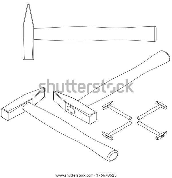 Tool Hammer Drawing Isometric Stock Vector (Royalty Free