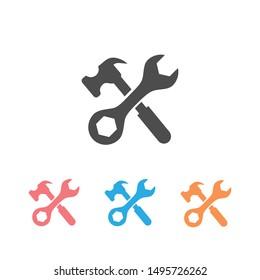 Tool icon set symbol vector on white background