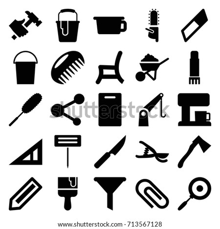 tool icons set set 25 tool stock vector royalty free 713567128 Navy Hummer tool icons set set of 25 tool filled icons such as pencil triangle ruler b cutting board bucket dust brush construction hummer paint bucket