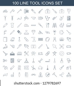 tool icons. Trendy 100 tool icons. Contain icons such as blod pressure tool, share, window squeegee, spoon and fork, paper clamp, binoculars, vice clamp. tool icon for web and mobile.