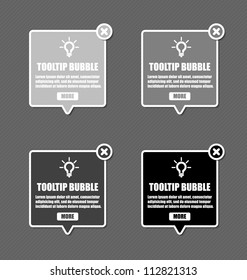 Tool tip design elements with lightbulb and closing cross in shades of grey color
