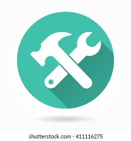 Tool  vector icon with long shadow. White illustration isolated on green background for graphic and web design.