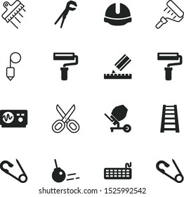 tool vector icon set such as: staircase, tall, gray, plastering, laboratory, pen, bob, scissors, step, vertical, hairdresser's tool, pipe, shape, mechanic, high, crane, amplitude, heavy, head, logo