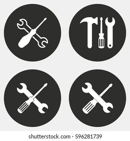 Tool vector icons set. White illustration isolated for graphic and web design.