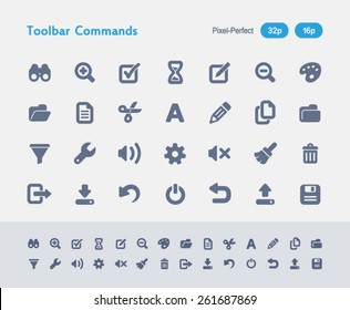 Toolbar Commands Icons. Antz Icon Series. Simple glyph style icons designed on a 32x32px grid and redesigned on a 16x16px grid.