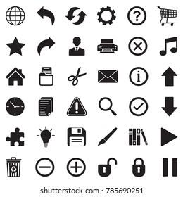 Toolbar Icons. Black Flat Design. Vector Illustration.