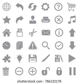 Toolbar Icons. Gray Flat Design. Vector Illustration.