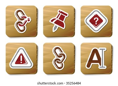 Toolbar and Interface icons. Vector icon set. Three color icons on cardboard tags.