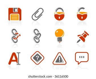 Toolbar and Interface icons. Vector icon set. Three color icons.