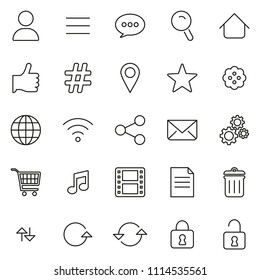 Toolbar Or Menu Icons Thin Line Vector Illustration Set