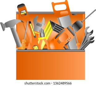 Toolbox full of equipment Vector. Flat Cartoon Isolated Illustration
