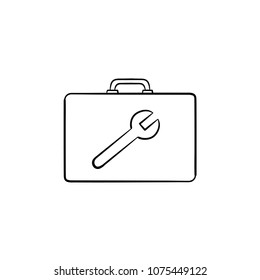 Toolbox hand drawn outline doodle icon. Builder box with image of wrench vector sketch illustration for print, website, mobile and infographics isolated on white background.