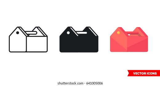Toolbox icon of 3 types: color, black and white, outline. Isolated vector sign symbol.