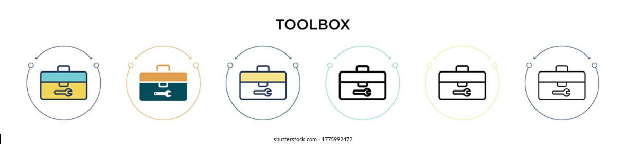 Toolbox icon in filled, thin line, outline and stroke style. Vector illustration of two colored and black toolbox vector icons designs can be used for mobile, ui, web