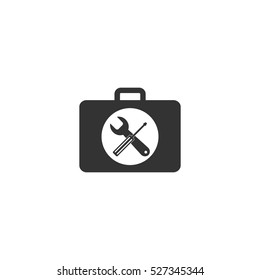 Toolbox icon flat. Illustration isolated vector sign symbol