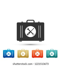 Toolbox icon isolated on white background. Set elements in colored icons. Flat design. Vector Illustration