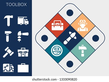 toolbox icon set. 13 filled toolbox icons.  Collection Of - Hammer, Plumber, Toolbox, Voltmeter