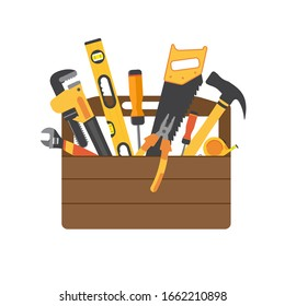 Toolbox with instruments inside. Workman's toolkit. Tool chest with hand tools. Workbox in flat style. Vector illustration