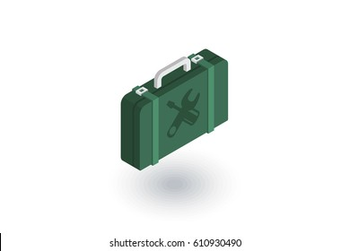 Toolbox isometric flat icon. 3d vector colorful illustration. Pictogram isolated on white background