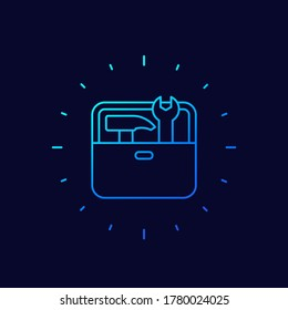 Toolbox line vector icon with hammer and wrench
