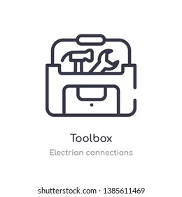 toolbox outline icon. isolated line vector illustration from electrian connections collection. editable thin stroke toolbox icon on white background