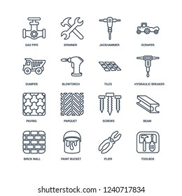 Toolbox, Plier, Paint bucket, Birck Wall, Beam, Gas pipe, Dumper, Paving, Tiles outline vector icons from 16 set