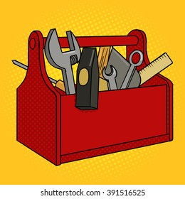 Toolbox red color with tools pop art style vector illustration. Comic book style imitation. Vintage retro style. Conceptual illustration