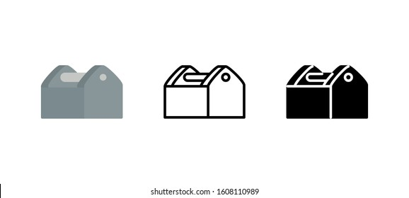 Toolbox renovation icon. Service flat, silhouette, line vector illustration on white background
