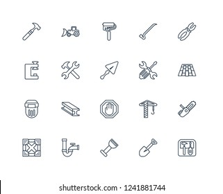 Toolbox, Spade tool, Bolster, Pipe, Joist, Plier, Screwdrivers, Stopping, Welding, Spanner, Paint roller outline vector icons from 20 set