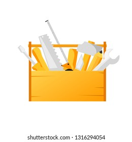 Toolbox with tools. Clipart image isolated on white background