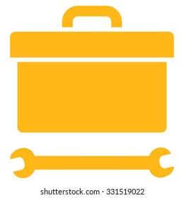Toolbox vector icon. Style is flat symbol, yellow color, rounded angles, white background.
