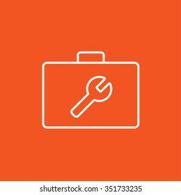 Toolbox with wrench sign line icon for web, mobile and infographics. Vector white icon isolated on red background.
