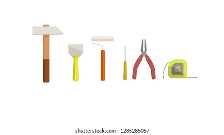 Toolkit: hammer, putty knife, paint roller, screewdriver, pliers and measuring tape.